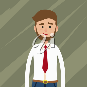 Smiling young man character. Bearded male in white shirt and red tie half-length portrait flat vector. Businessman, clerk, office worker or manager cartoon illustration for user avatar