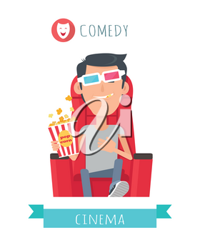 Comedy cinema. Man in cinema seat entertainment and fun concept. Happy c boy with 3d glasses watching movie. Cheerful boy character spend leisure watching film in flat style. Vector Illustration
