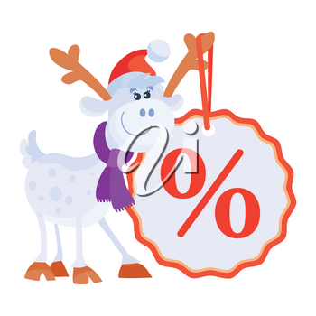 Little toy horse with big sale discount label. Cute deer with red horns. Artificial reindeer vector illustration. Toy deer in flat style design. New Year and Christmas concept. Sticker for children