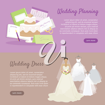 Wedding planning and wedding dress web banner. Preparation for wedding day. Getting ready to marriage ceremony. Planning everything ahead. Choosing the date, dress, place, decoration, menu. Vector