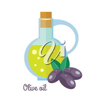 Olive oil in bottle with black olives in flat design. Small jar filled olive kernel oil. Cooking base product. Used in cosmetics, pharmaceuticals, soaps, as a fuel for traditional oil lamps. Vector
