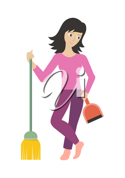 Woman member of the cleaner service staff with dustpan and broom. Worker of cleaning company. Successful cleaning business company. Lady housekeeper isolated on white. Vector illustration