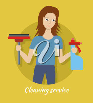Cleaning service. Female member of the cleaning service staff with broom and glass cleaner. Worker of cleaning company. Successful housekeeping company banner. Office and hotel cleaning. Vector