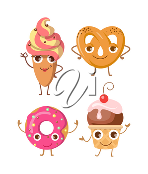 Sweets. Collection of four various confectioneries. Cake in oval shape with whipped cream. Doughnut with pink sprinkles and big hole inside. Ball of ice cream in cone with one cherry. Vector