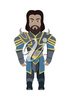 Fantasy knight character vector in flat style design. King game personage in fairy bright armor. Illustration for games industry concepts, icons and pictograms. Isolated on white background.