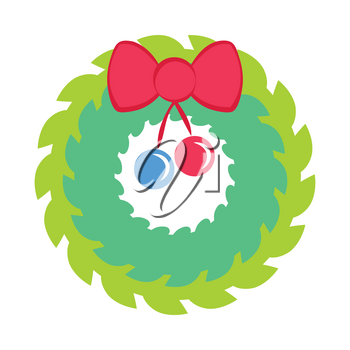 Christmas wreath with red bow and ribbon patch. Decorated wreath of pine branches isolated on white. For new year's day, christmas, decoration, winter holiday. Comic illustration in 80s 90s style