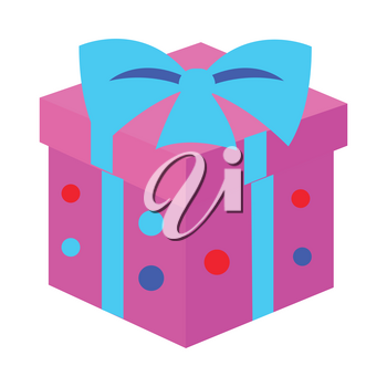 New Year pink box with blue ribbon on it isolated on white. IGift box with point in simple cartoon style. Colourful big bow on top. Flat style design. Comic illustration in 80s 90s style. Vector