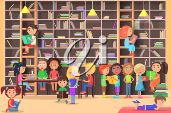 Children read in the library vector illustration. Kids study in atheneum. Clever young boys and girls read books. Schoolchildren self education. Public room with bookshelves. Wisdom friends. Literature