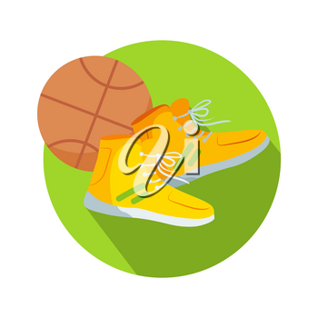 Soccer boots and ball web button. Basketball boots and basketball ball. Sneakers athletic shoes, tennis shoes, runners, takkies, or trainers. Dribbling, passing, shooting ball into basket. Vector