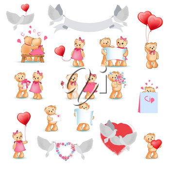 Teddy Bears collection on white. Toy presents for Valentine s Day vector poster. Bears holding greeting cards, red heart balloons, hugging, sitting on bench and doves with wreaths decorative elements