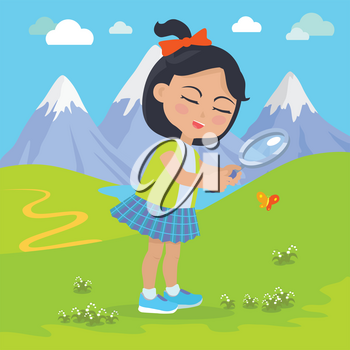 Girl holds magnifying glass in her hands in the mountains. Little girl has leisure time. School girl at hiking tour. Young lady at expedition investigate nature. Favourite hobby activity. Vector