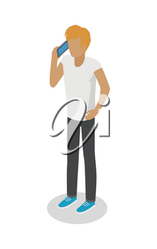 Young man stands and talks over cellphone on white. Isolated male person with one hand in pocket without face dressed in casual clothes, white t-shirt, black trousers and blue sneakers. Vector