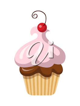 Round fruit cupcake with one cherry on top of it. Sweets. Baked cake with chocolate filling and pink airy cream in simple cartoon style. Light baking form. Side view of colourful bun. Vector