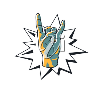 Rock gesture horned fingers. Metal logo rockers hand making sign. Sticker of symbolic movement colorful blue icon isolated on vector illustration