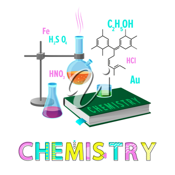 Chemistry items subject poster with headline. Glassware containing chemical substances liquids. Book about molecular studies vector illustration