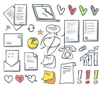 Office paper and hearts isolated icons vector. Pages and memo, notes and message in envelope, laptop screen and exclamation mark, increasing pointer