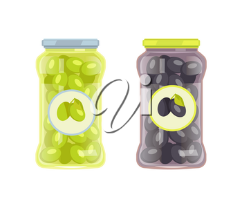Black and green olives preserved food in glass jar vector icon isolated. Conserved veggies, traditional mediterranean cuisine pickled marinated snack