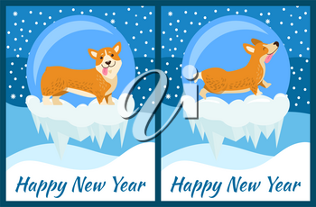 Happy New Year corgi symbol of chinese horoscope sign vector illustration postcard with cute dog puppies on snow cliffs and winter landscape on background