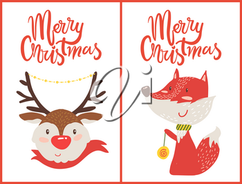 Merry Christmas set of two postcards with deer dressed in red woolen scarf and fox with decor ball in paw. Vector illustration xmas symbols posters