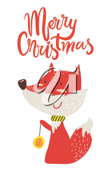 Merry Christmas poster congratulation from fox playing yo-yo. Vector illustration with smiling animal with colorful toy isolated on white background