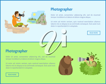 Landscape and animal photographers web banners. Man on rock or guy in bush shooting bear with powerful zoom cameras cartoon vector illustrations.