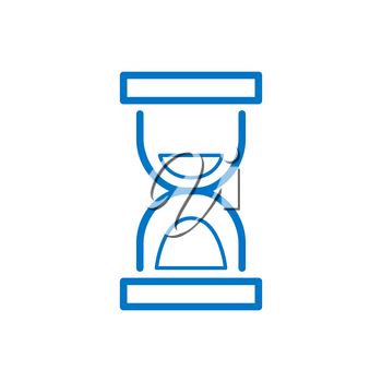 Sand watch, infographic element of hourglass of blue color signifies deadlines vector illustration blue isolated on white background