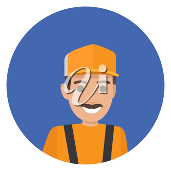 Whiskered erector in black overalls and yellow helmet vector illustration. Home repair service worker in cartoon style flat design