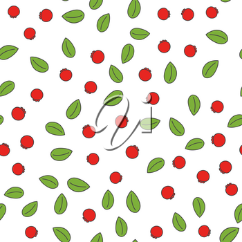 Cartoon wild red berries with green leaves seamless pattern isolated on white background. Wallpaper design of vector illustration with juicy fruits. Wild forest plant growing on bushes endless texture