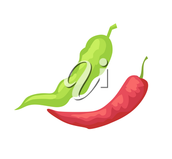 Pepper pods isolated vector icon in cartoon style. Red hot and green chili hand drawn relish, badge of spice and seasoning, cafe menu cover emblem
