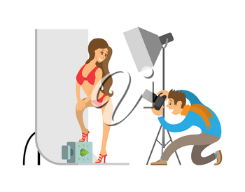 Photographer and model in swimsuit at photo studio. Man holding camera making shots of woman wearing red underwear with stilettos vector illustration.