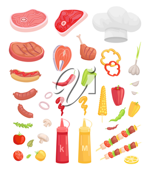 BBQ set, meat for barbecue and spice vector icon. Beef and fish steak, sausage and chicken, ketchup and mustard, veggie and herbs, kebab and headpiece