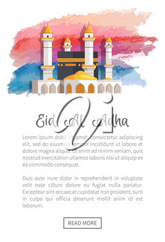 Eid Al Adha holiday promotion with black mosque among white towers. Holy sacred place for muslims on festive web page template vector illustration.