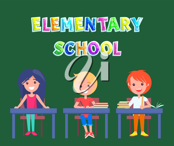 Elementary school multicoloured caption on poster with cartoon pupils. Vector schoolchildren sitting on tables applique for educational institution.