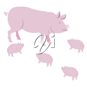 Pink pig with small piggies vector illustration isolated on white background. Domestic farm animals in cartoon style flat design piggy or swine mammal