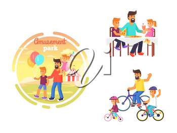 Dad celebrating Father's day with children by eating out pizza, visiting amusement park, riding bike. June holiday for male parents vector poster
