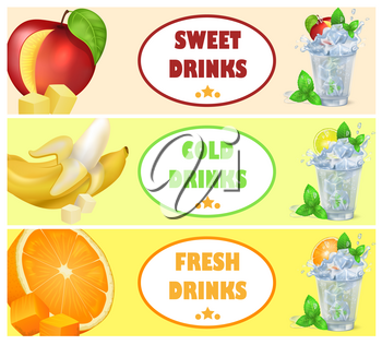 Sweet cold fresh drinks with frozen ice, mint leaves, red apple, sour lime, juicy orange and peeled banana vector illustrations.