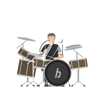 Musician plays on big professional drum set isolated vector illustration on white background. Faceless male character perform music.