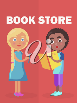 Book store banner with little blonde girl standing with small book and afro american boy vector illustration. International World Day of Literacy