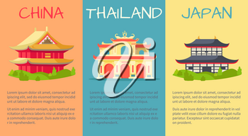 China, Thailand and Japan buildings web banner with yellow, blue and orange backgrounds. Vector colourful poster of traditional symbolic constructions and space with information text underneath