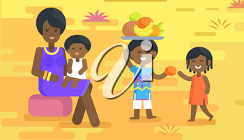 African woman in violet dress and accessories sits with baby on lap and boy holds tray with fruits and gives orange to girl vector illustration.