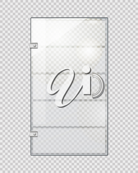 Transparent door isolated on grey checkered background. Vector illustration of isolated clear glass door with long doorhandle. Mock up decorative object of shops, boutiques for entrance and exit