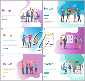 People happy of successful startup launching vector, business activity. Teamwork, meeting presentation of ideas, discussion conference in office. Website or webpage template, landing page flat style
