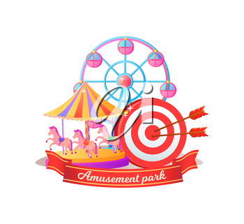 Amusement park poster decorated by ferris wheel, darts and merry-go-round. Round entertainment objects with cabins or horses, shiny attraction vector