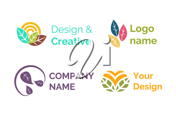 Design and creative logotypes for companies vector, set of isolated icons, emblems with leaves and foliage. Circles and abstract emblems, logo slat style