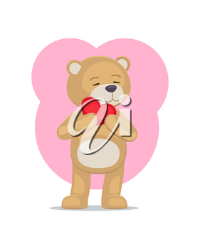 Adorable teddy gently holds heart at head, lovely bear animal with red balloon or pillow, vector illustration greeting card design on Valentines day