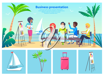 Business presentation by seaside, poster with woman and workers listening to her, sea and sailboat, palms and sand isolated on vector illustration