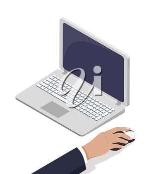 Male hand near open laptop touching computer mouse vector illustration isolated on white background. Earning money via Internet concept, online business