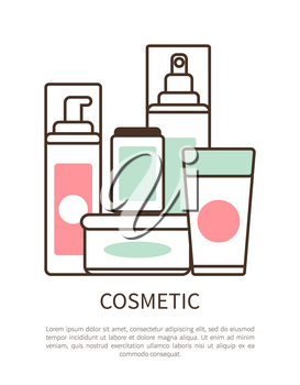 Cosmetic set colorful poster vector illustration with lot of creams in various shape bottles with pink and green labels, text sample, white background