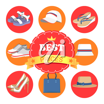 Best prices poster and icons with circled images, hats and shoes, bags and accessories, headline and star with crown, isolated on vector illustration