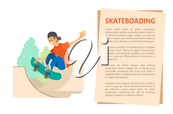 Skateboarding and skate part, teenager on skateboard vector. Extreme sport or outdoor activity, jumping on board, boy in cap and jeans showing trick. Flat cartoon
